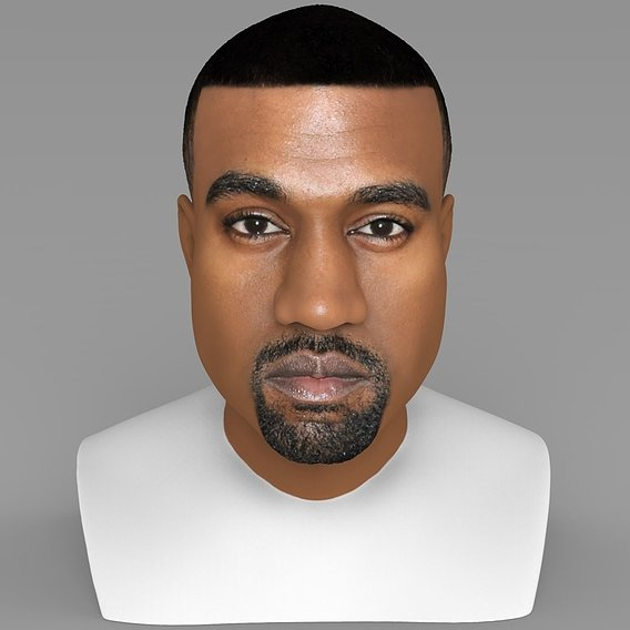 Kanye West bust for full color 3D printing