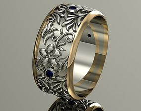 3D printable model engagement ring with gems and flowers