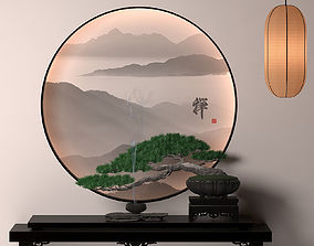 Article pine pine potted plants Pine bonsai end 3D asset 1