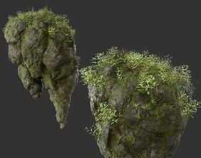 HD Floating Mossy Rock 03 191205 3D