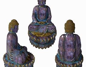 Worn rusty metal statue of Buddha 3D