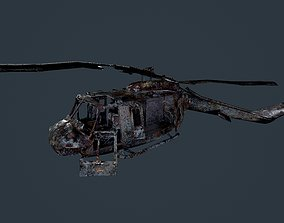 Wrecked Damaged UH1H Military Helicopter Game 3D asset 1