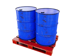 Barrels on a wooden pallet gas 3D