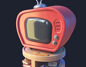 3D asset Stylized Retro TV