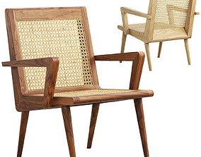 Mid-century cane chair 3D model