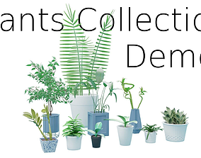 3D model VR / AR ready Plants Collection DEMO