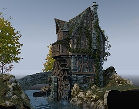 3D model Medieval watermill