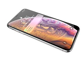 Realistic iphone XS MAX silver 3D model