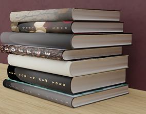 Books 3D model book bookcase