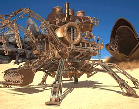 3D asset SteamPunk Dune Harvester Train Animated PBR