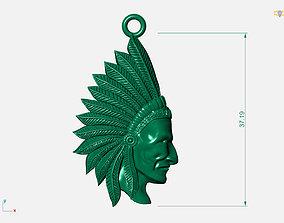 3D print model Aboriginal native chief pendant