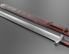 3D asset low-poly Viking Sword