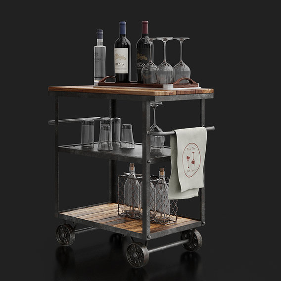 Industrial Loft Bar Trolley with bottles and accessories