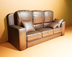 Leather Couch with pillow 3D model realtime