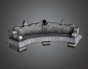 3D asset Stone Bench Cemetery CEM - PBR Game Ready