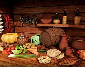 food vegetables utensils for a rustic or 3D asset 1