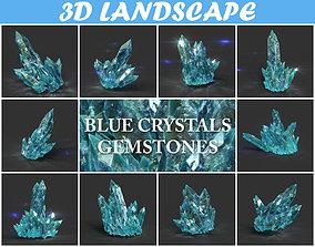 3D asset Low poly Blue Crystal Gemstone Pack 200114