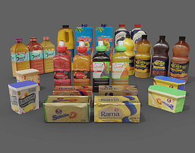 3D model juice bottles butter tubs cold store refrigerated