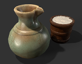 Clay Jug and Wood Pail 3D asset