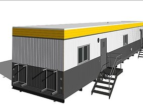 Construction Site Office Trailer On Running steel 3D asset