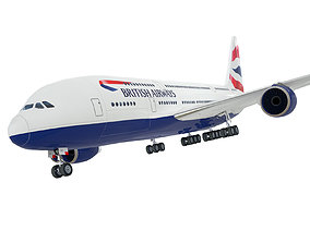 Airbus A380 Giant Airplane Low Polygon 3D model game-ready
