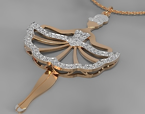 3D print model Girl in dress pendant
