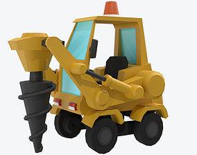 Cartoon Post Hole Digger Drill 3D asset
