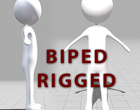 3D asset Stickman character Rigged with Biped