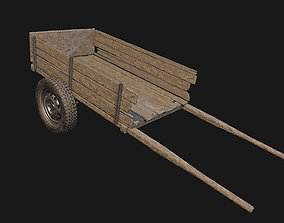 Low Poly PBR Wooden Cart 3D asset