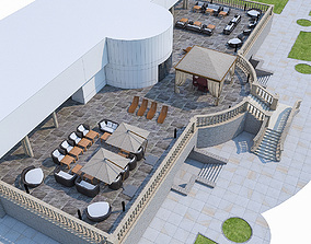 Luxury Terrace with Furniture 3D model