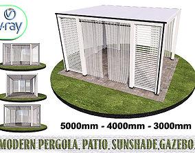 Modern pergola patio sunshade gazebo 3D