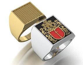 signet ring with heraldic 3D printable model