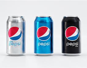 3D model Set of Pepsi Cans - Classic Zero Diet Cola
