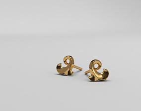 Thin baroque pattern earrings 3D print model