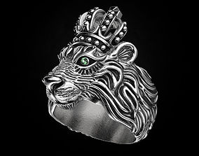Stylish ring Lion with a crown 451 3D printable model