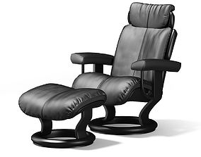 Black Leather Chair with Footrest 3D