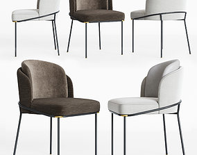 3D metal Minotti Fil noir Dining chair