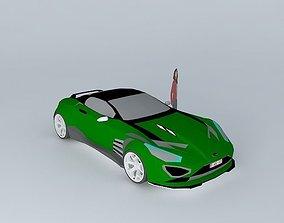 3D Green sport car SLN NEG