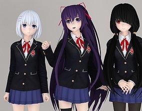 Tohka - Origami and Kurumi anime girls pose 01 3D model