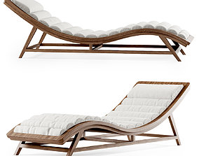 Wooden chaise lounge 3D model single