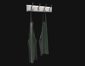 Clothes rack with aprons 3D model