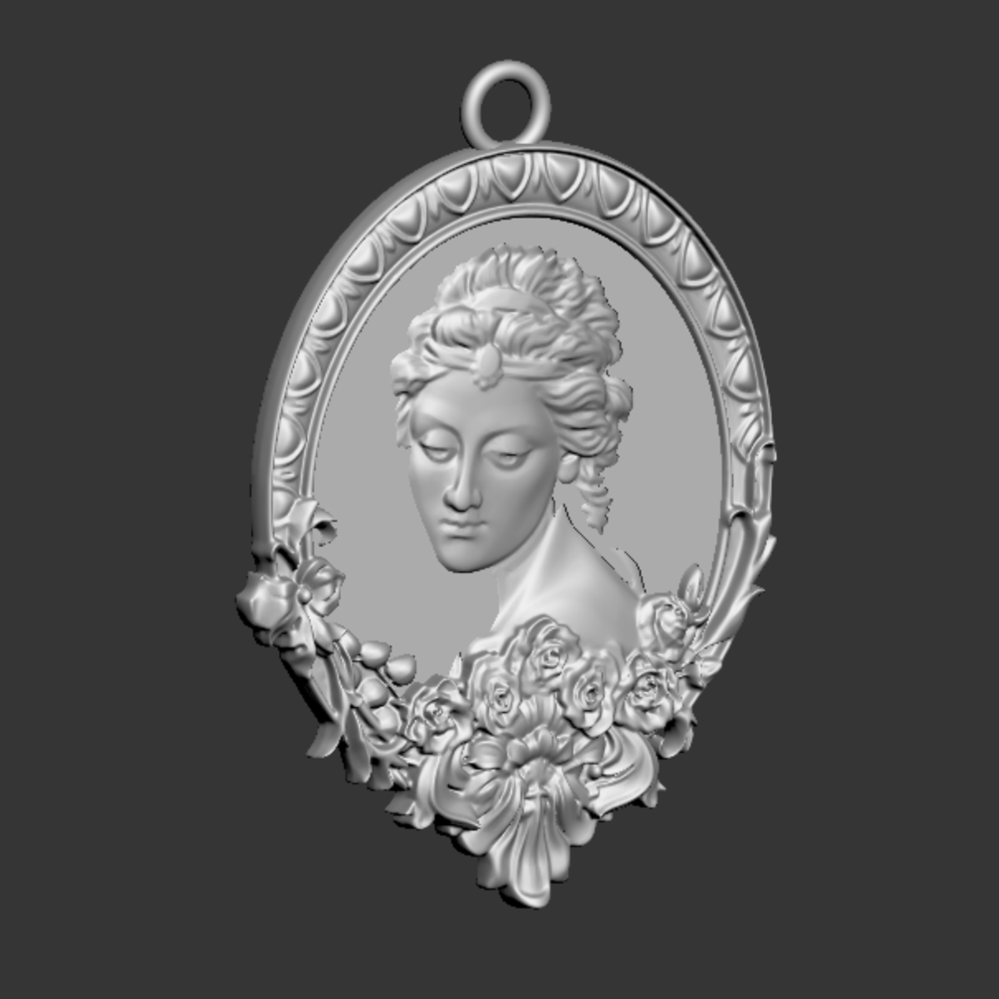 Beautiful Female Face pendant jewelry gold necklace medallion 3D print model