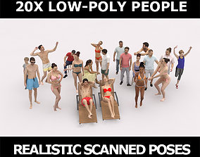 3D model 20x LOW POLY SPORT SPORTS BEACH SUMMER PEOPLE