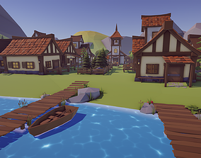 Low Poly Medieval Village 3D model