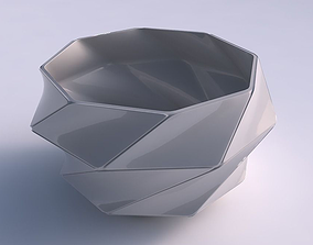 3D printable model Bowl spheric twisted with huge plates