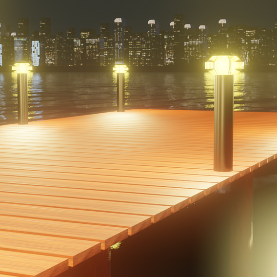 Low poly Night city with river