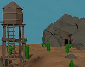 3D model LowPoly Western Mine with Water tower