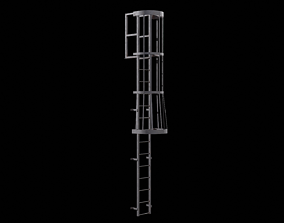 3D asset Ladder Cage - Safety Step old rusted