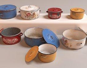 PBR Vintage Cooking Pots 3D model