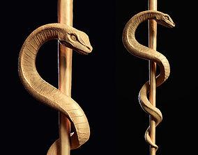 Medical symbol Asclepius 3d print model caduceus